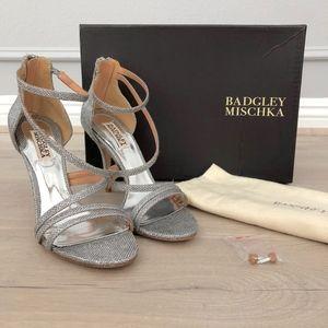 Badgley Mischka Landmark Silver Strappy Sandals